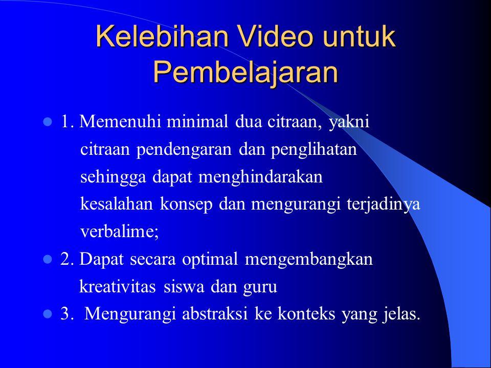 Pengertian Video Pembelajaran Video pembelajaran adalah media pembelajaran dengan memanfaatkan citraan penglihatan dan pendengaran yang menggunakan pe