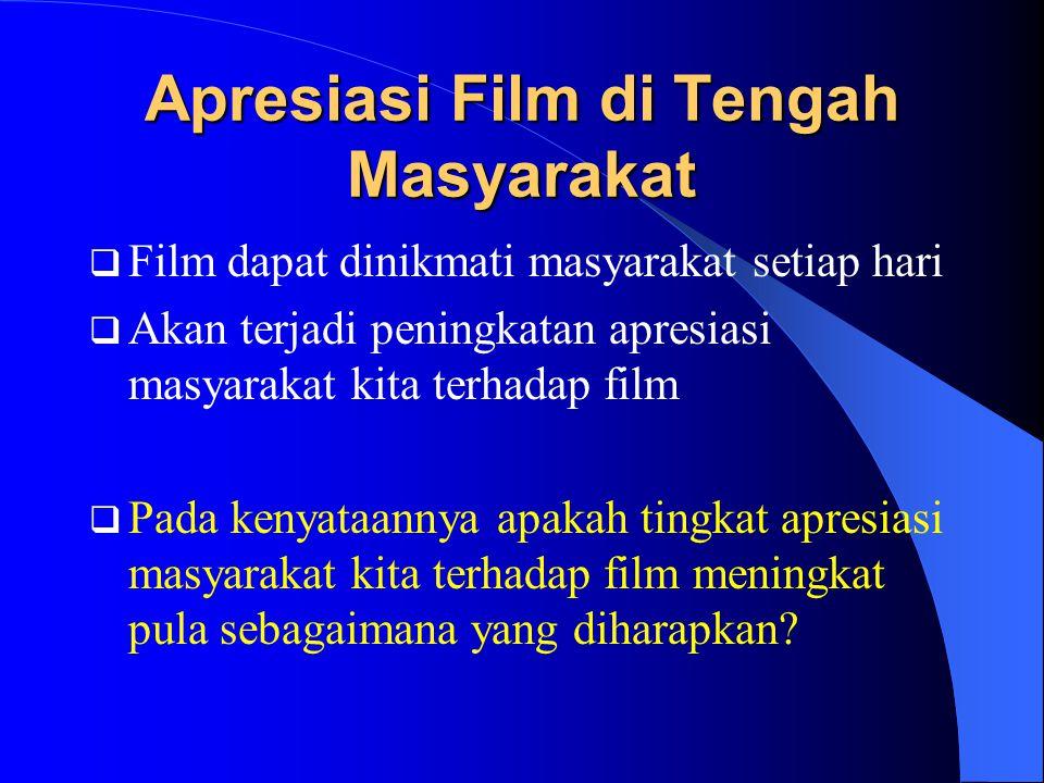 Apresiasi Film di Tengah Masyarakat  Film dapat dinikmati masyarakat setiap hari  Akan terjadi peningkatan apresiasi masyarakat kita terhadap film  Pada kenyataannya apakah tingkat apresiasi masyarakat kita terhadap film meningkat pula sebagaimana yang diharapkan?