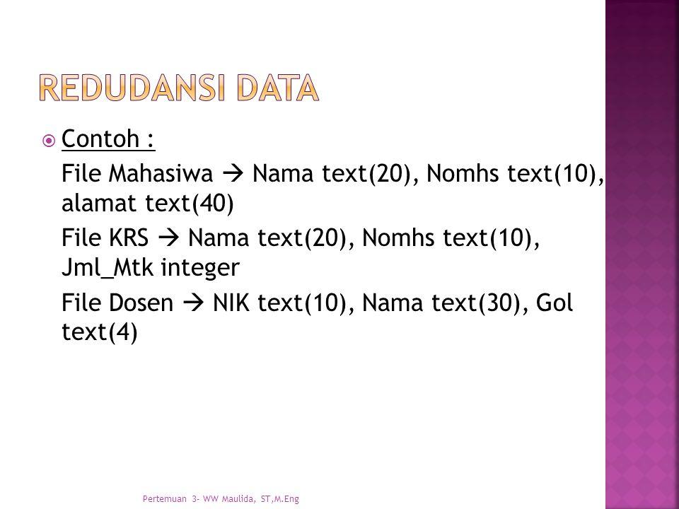  Contoh : File Mahasiwa  Nama text(20), Nomhs text(10), alamat text(40) File KRS  Nama text(20), Nomhs text(10), Jml_Mtk integer File Dosen  NIK t