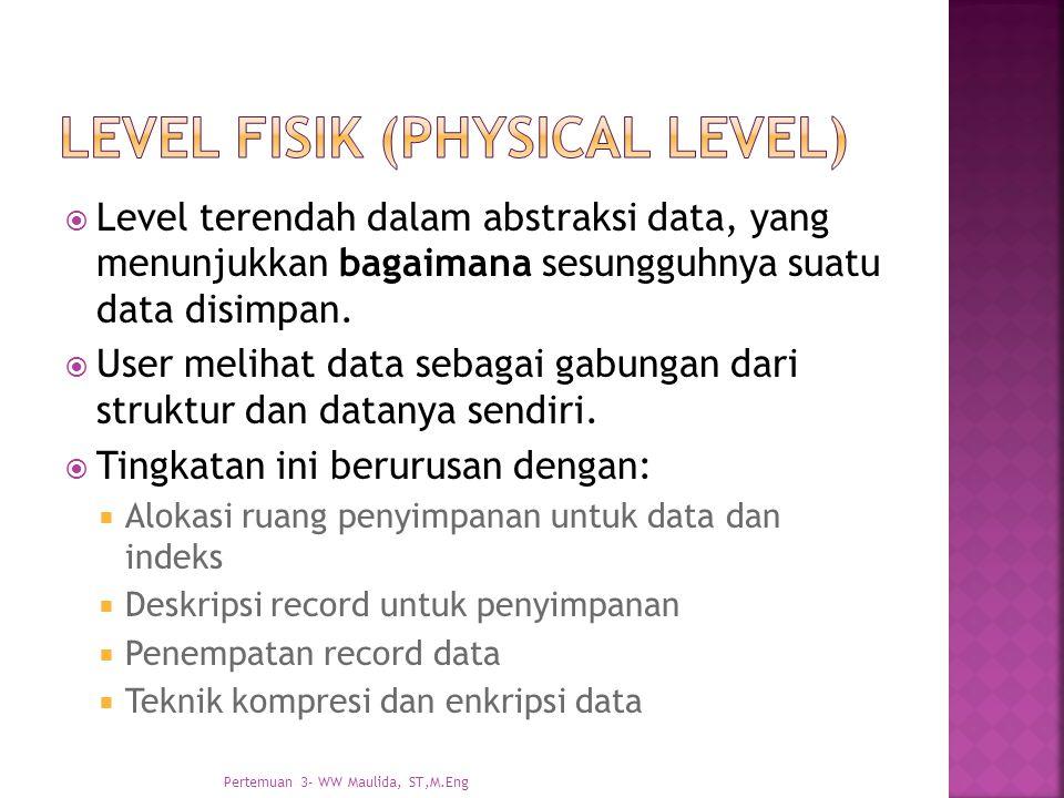  Level terendah dalam abstraksi data, yang menunjukkan bagaimana sesungguhnya suatu data disimpan.  User melihat data sebagai gabungan dari struktur