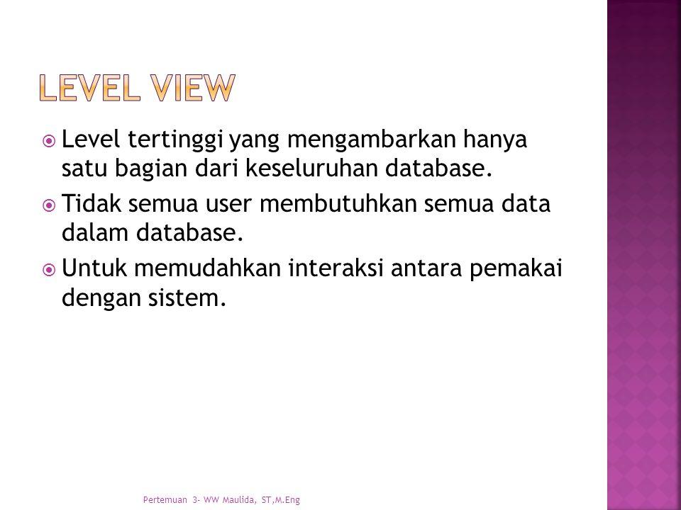  Level tertinggi yang mengambarkan hanya satu bagian dari keseluruhan database.  Tidak semua user membutuhkan semua data dalam database.  Untuk mem