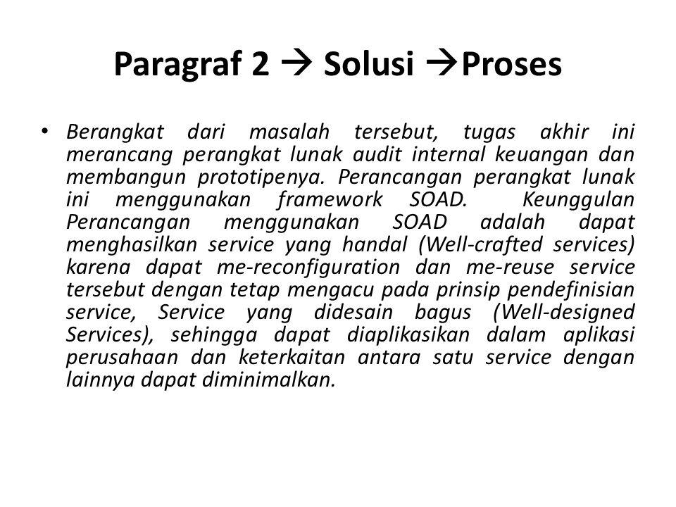 Paragraf 2  Solusi  Proses Berangkat dari masalah tersebut, tugas akhir ini merancang perangkat lunak audit internal keuangan dan membangun prototipenya.