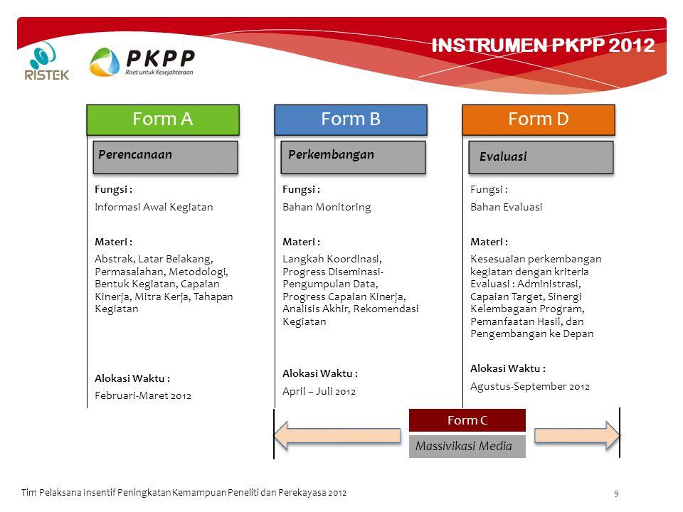 INSTRUMEN PKPP 2012 Tim Pelaksana Insentif Peningkatan Kemampuan Peneliti dan Perekayasa 2012 9 Fungsi : Informasi Awal Kegiatan Materi : Abstrak, Latar Belakang, Permasalahan, Metodologi, Bentuk Kegiatan, Capaian Kinerja, Mitra Kerja, Tahapan Kegiatan Alokasi Waktu : Februari-Maret 2012 Form A Fungsi : Bahan Monitoring Materi : Langkah Koordinasi, Progress Diseminasi- Pengumpulan Data, Progress Capaian Kinerja, Analisis Akhir, Rekomendasi Kegiatan Alokasi Waktu : April – Juli 2012 Form B Fungsi : Bahan Evaluasi Materi : Kesesuaian perkembangan kegiatan dengan kriteria Evaluasi : Administrasi, Capaian Target, Sinergi Kelembagaan Program, Pemanfaatan Hasil, dan Pengembangan ke Depan Alokasi Waktu : Agustus-September 2012 Form D PerencanaanPerkembangan Evaluasi Form C Massivikasi Media