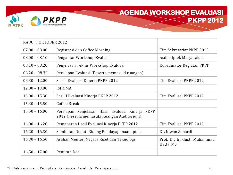 AGENDA WORKSHOP EVALUASI PKPP 2012 Tim Pelaksana Insentif Peningkatan Kemampuan Peneliti dan Perekayasa 2012 14