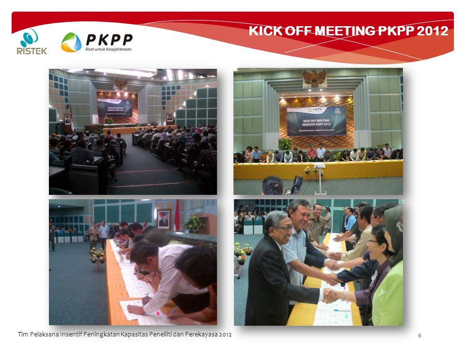 KICK OFF MEETING PKPP 2012 6 Tim Pelaksana Insentif Peningkatan Kapasitas Peneliiti dan Perekayasa 2012