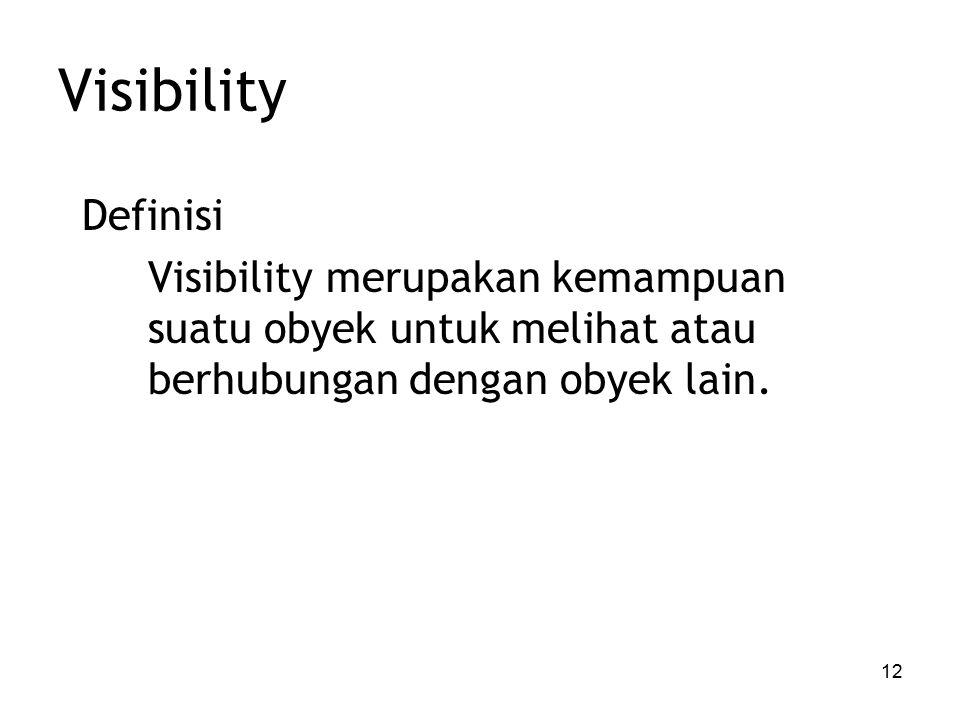 12 Visibility Definisi Visibility merupakan kemampuan suatu obyek untuk melihat atau berhubungan dengan obyek lain.