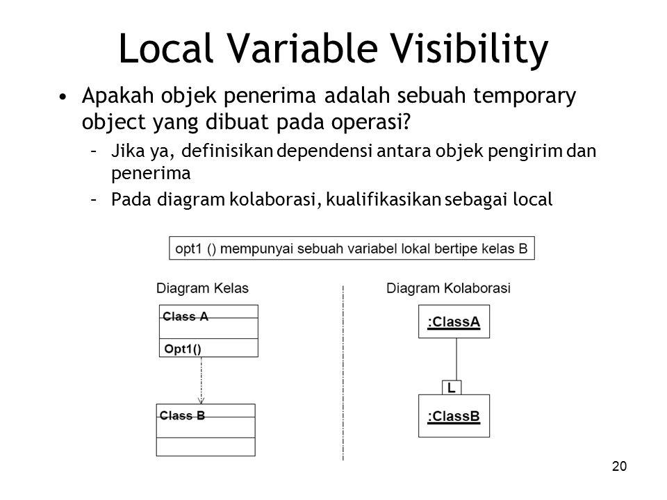 20 Local Variable Visibility Apakah objek penerima adalah sebuah temporary object yang dibuat pada operasi.