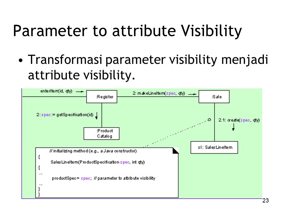 23 Parameter to attribute Visibility Transformasi parameter visibility menjadi attribute visibility.