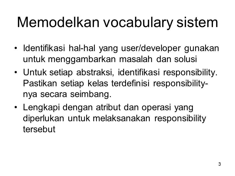 3 Memodelkan vocabulary sistem Identifikasi hal-hal yang user/developer gunakan untuk menggambarkan masalah dan solusi Untuk setiap abstraksi, identifikasi responsibility.