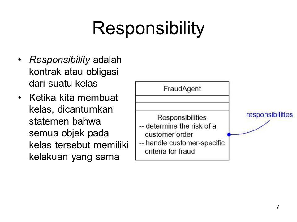 7 Responsibility Responsibility adalah kontrak atau obligasi dari suatu kelas Ketika kita membuat kelas, dicantumkan statemen bahwa semua objek pada kelas tersebut memiliki kelakuan yang sama