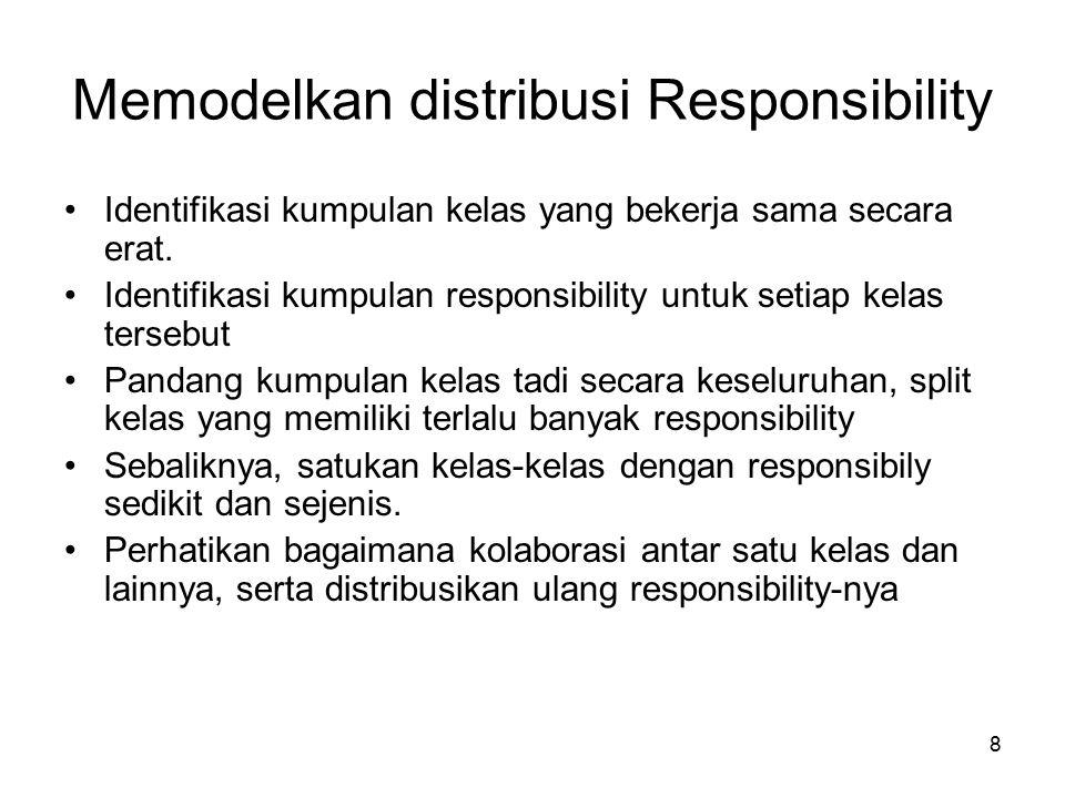 8 Memodelkan distribusi Responsibility Identifikasi kumpulan kelas yang bekerja sama secara erat.