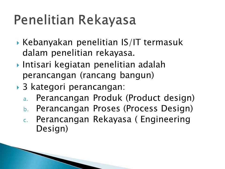  Kebanyakan penelitian IS/IT termasuk dalam penelitian rekayasa.  Intisari kegiatan penelitian adalah perancangan (rancang bangun)  3 kategori pera