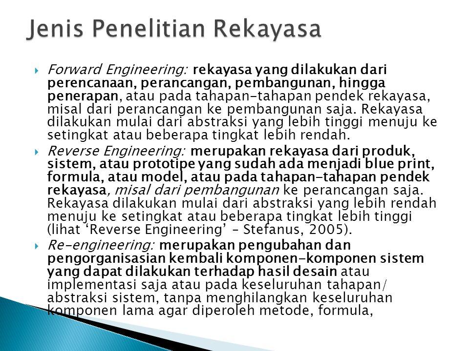  Forward Engineering: rekayasa yang dilakukan dari perencanaan, perancangan, pembangunan, hingga penerapan, atau pada tahapan-tahapan pendek rekayasa, misal dari perancangan ke pembangunan saja.