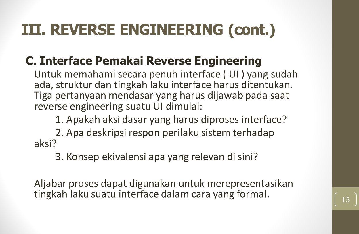 III. REVERSE ENGINEERING (cont.) C. Interface Pemakai Reverse Engineering Untuk memahami secara penuh interface ( UI ) yang sudah ada, struktur dan ti