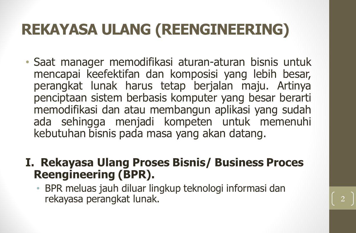 REKAYASA ULANG (REENGINEERING) Saat manager memodifikasi aturan-aturan bisnis untuk mencapai keefektifan dan komposisi yang lebih besar, perangkat lun