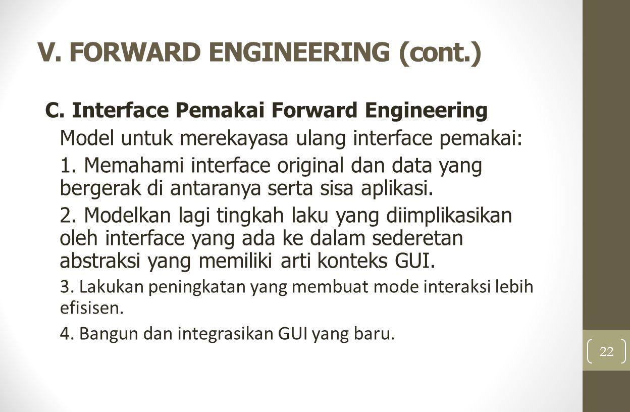 V. FORWARD ENGINEERING (cont.) C. Interface Pemakai Forward Engineering Model untuk merekayasa ulang interface pemakai: 1. Memahami interface original