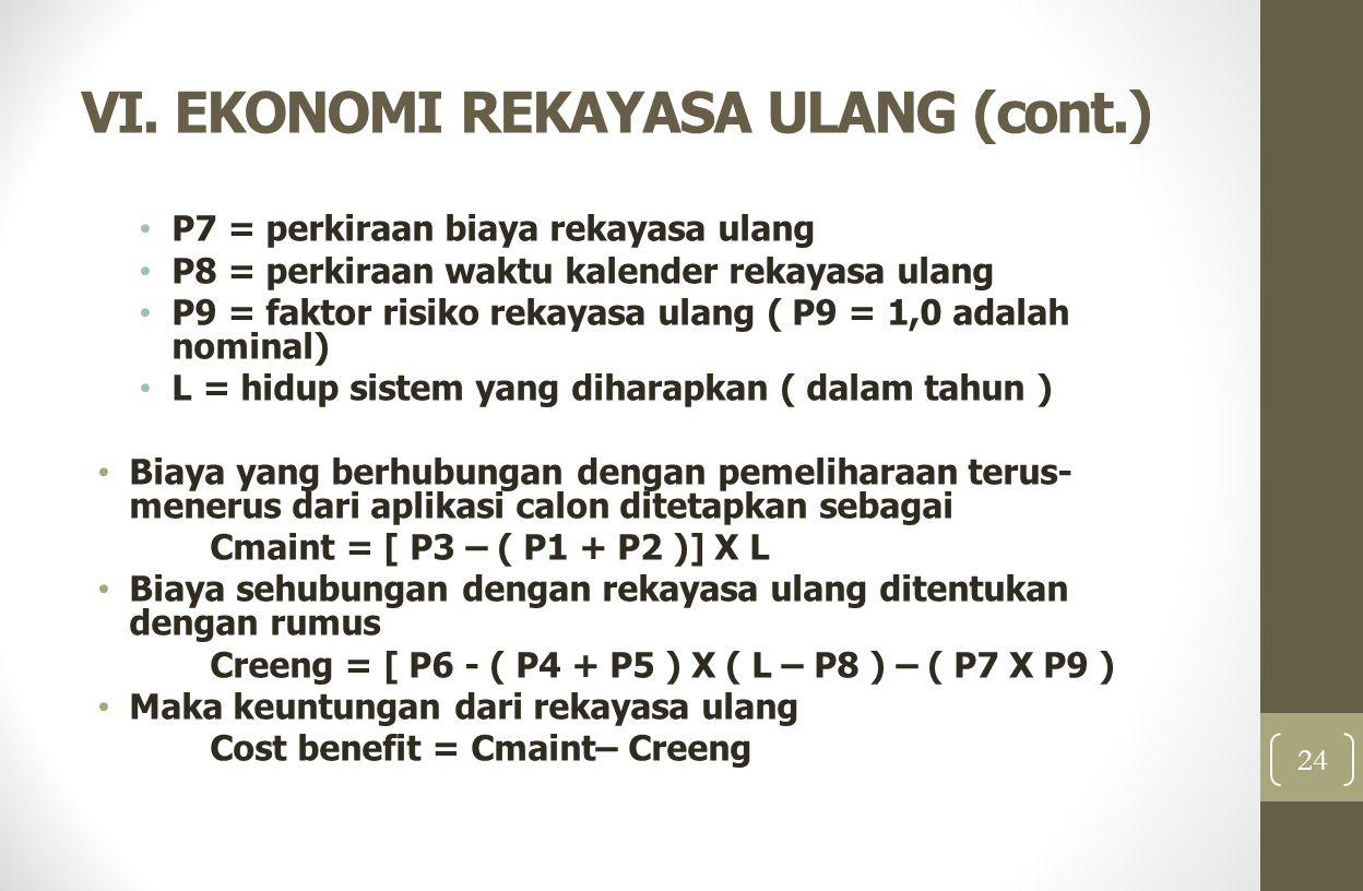 VI. EKONOMI REKAYASA ULANG (cont.) P7 = perkiraan biaya rekayasa ulang P8 = perkiraan waktu kalender rekayasa ulang P9 = faktor risiko rekayasa ulang