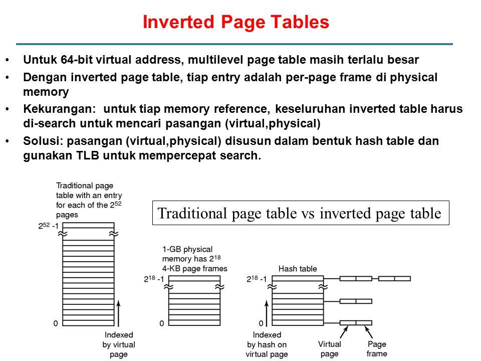 Untuk 64-bit virtual address, multilevel page table masih terlalu besar Dengan inverted page table, tiap entry adalah per-page frame di physical memory Kekurangan: untuk tiap memory reference, keseluruhan inverted table harus di-search untuk mencari pasangan (virtual,physical) Solusi: pasangan (virtual,physical) disusun dalam bentuk hash table dan gunakan TLB untuk mempercepat search.