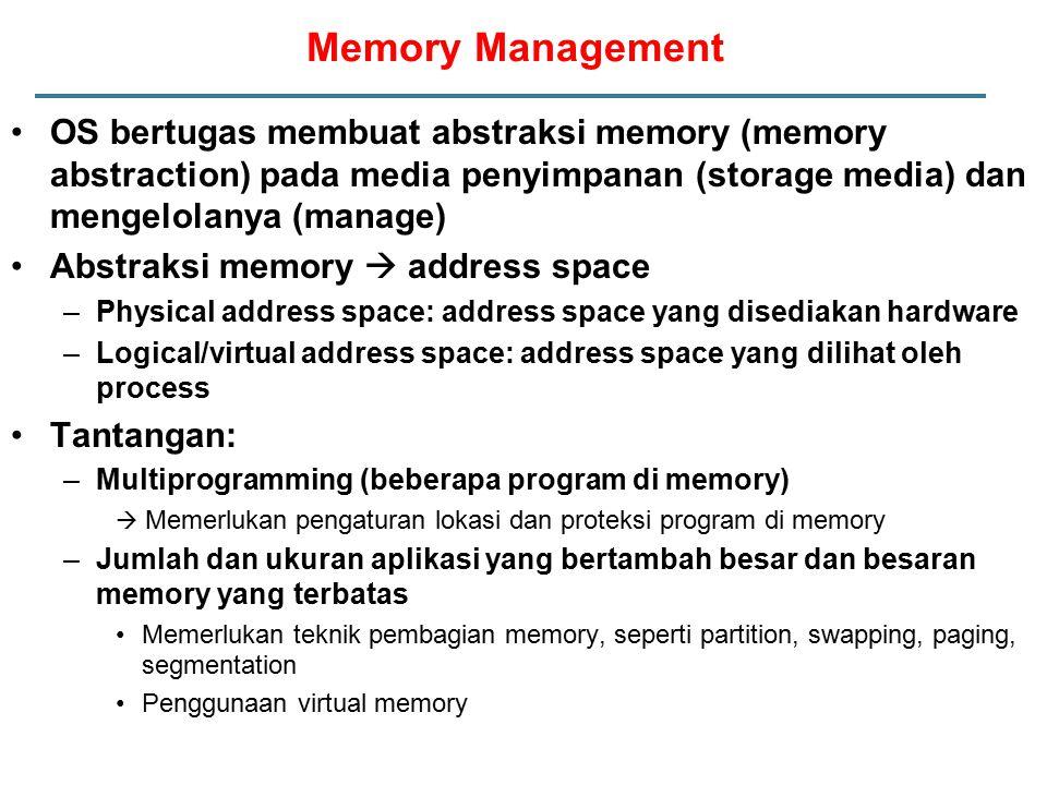 Tantangan untuk melakukan Paging yang efisien Pemetaan dari virtual address ke physical address harus cepat –Gunakan Translation Lookaside Buffer (associative memory) di MMU yang menyimpan beberapa informasi page table yang sering digunakan  menghemat memory reference Jika virtual address space besar, maka page table juga besar –Contoh: 32-bit virtual address space, 4KB page (offset = 12 bit), 4 bytes page table entry, maka ukuran page table = 2 20 x 4 = 4MB.