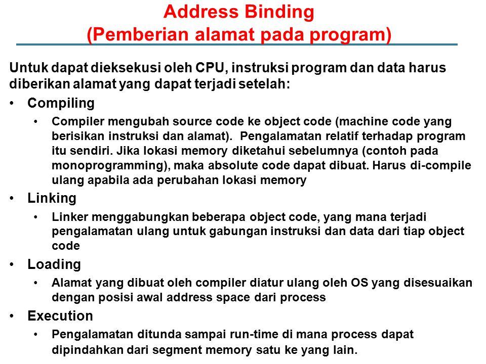 Untuk dapat dieksekusi oleh CPU, instruksi program dan data harus diberikan alamat yang dapat terjadi setelah: Compiling Compiler mengubah source code ke object code (machine code yang berisikan instruksi dan alamat).