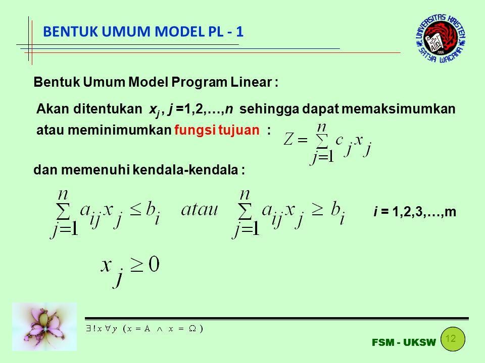 12 FSM - UKSW BENTUK UMUM MODEL PL - 1 Bentuk Umum Model Program Linear : Akan ditentukan x j, j =1,2,…,n sehingga dapat memaksimumkan atau meminimumk