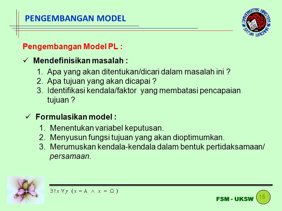 15 FSM - UKSW PENGEMBANGAN MODEL Pengembangan Model PL : Mendefinisikan masalah : 1.Apa yang akan ditentukan/dicari dalam masalah ini ? 2.Apa tujuan y