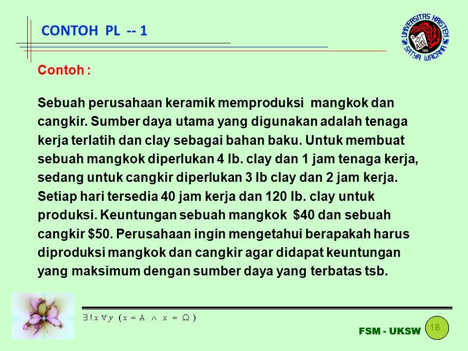 18 FSM - UKSW CONTOH PL -- 1 Contoh : Sebuah perusahaan keramik memproduksi mangkok dan cangkir. Sumber daya utama yang digunakan adalah tenaga kerja