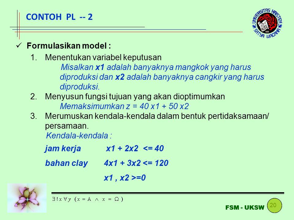 20 FSM - UKSW Formulasikan model : 1.Menentukan variabel keputusan Misalkan x1 adalah banyaknya mangkok yang harus diproduksi dan x2 adalah banyaknya