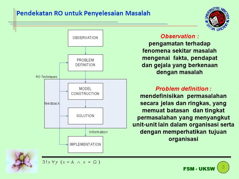 4 FSM - UKSW Model construction : Model adalah abstraksi dari kondisi permasalahan yang ada ke bentuk perumusan matematis (menggunakan simbol-simbol dan angka) Model solution : menyelesaikan model hingga dapat diidentifikasi hasil penyelesaian yang terbaik bagi model (nilai var.keputusan dan fungsi tujuan) Pendekatan RO untuk Penyelesaian Masalah