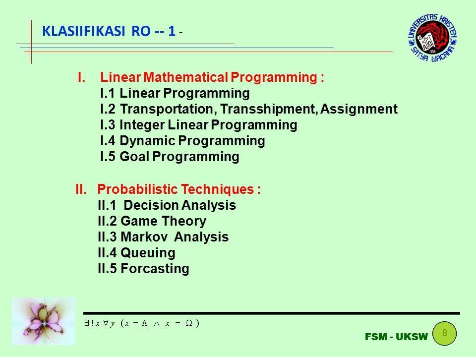 8 FSM - UKSW KLASIIFIKASI RO -- 1 - I. Linear Mathematical Programming : I.1Linear Programming I.2Transportation, Transshipment, Assignment I.3Integer