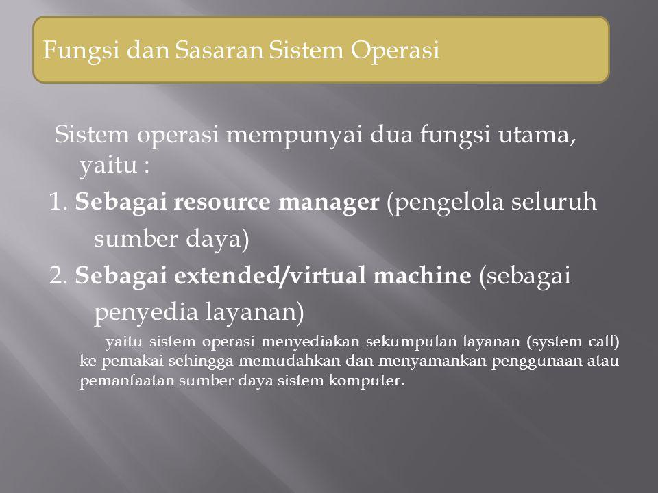 Fungsi sistem operasi sebagai resource manager Sistem operasi bertanggung jawab mengelola sumber-sumber daya sistem komputer.