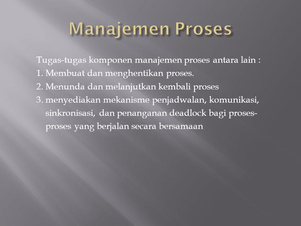 Tugas-tugas komponen manajemen proses antara lain : 1.