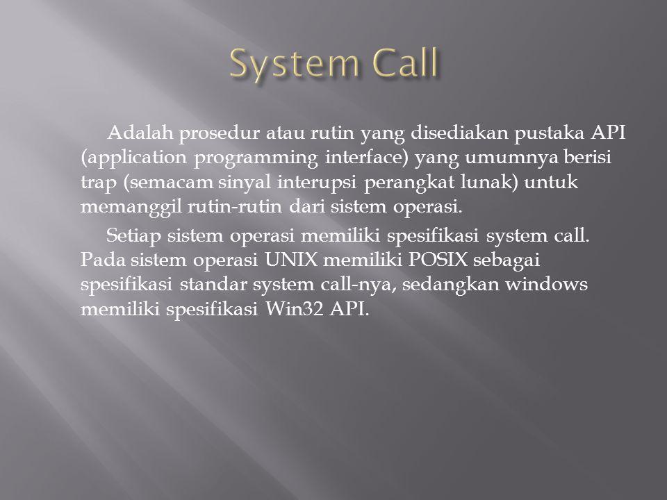 Adalah prosedur atau rutin yang disediakan pustaka API (application programming interface) yang umumnya berisi trap (semacam sinyal interupsi perangkat lunak) untuk memanggil rutin-rutin dari sistem operasi.