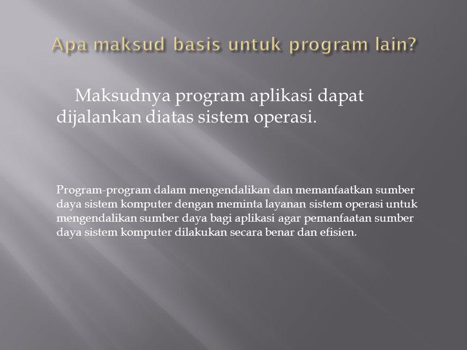 Maksudnya program aplikasi dapat dijalankan diatas sistem operasi.