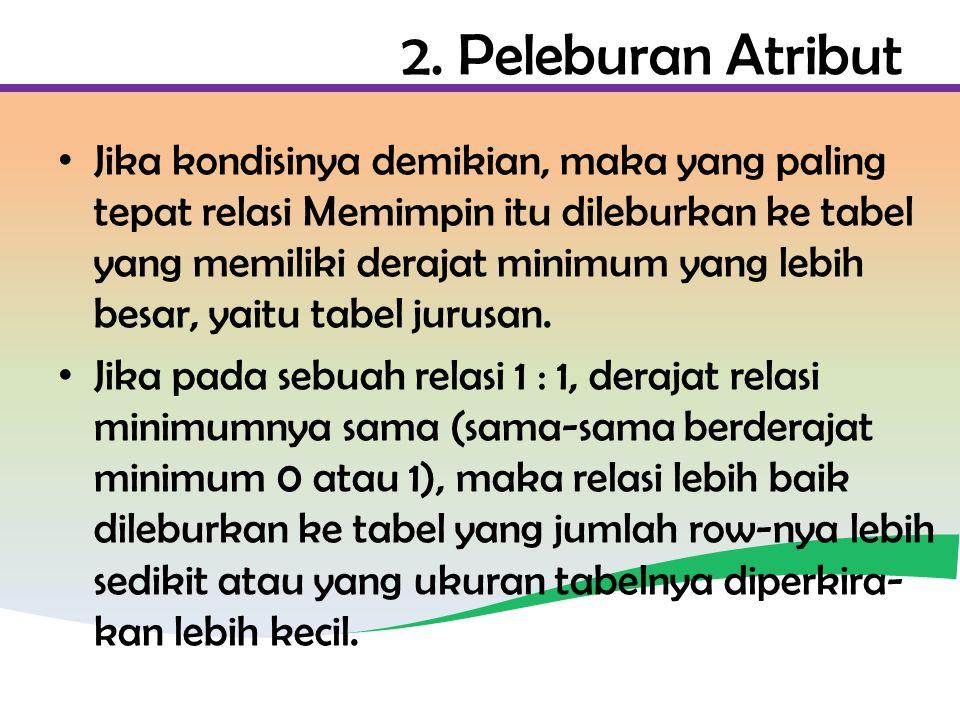 2. Peleburan Atribut Jika kondisinya demikian, maka yang paling tepat relasi Memimpin itu dileburkan ke tabel yang memiliki derajat minimum yang lebih