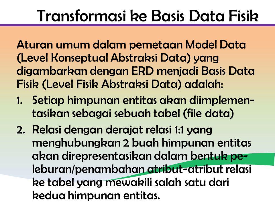 Transformasi ke Basis Data Fisik Aturan umum dalam pemetaan Model Data (Level Konseptual Abstraksi Data) yang digambarkan dengan ERD menjadi Basis Data Fisik (Level Fisik Abstraksi Data) adalah: 1.Setiap himpunan entitas akan diimplemen- tasikan sebagai sebuah tabel (file data) 2.Relasi dengan derajat relasi 1:1 yang menghubungkan 2 buah himpunan entitas akan direpresentasikan dalam bentuk pe- leburan/penambahan atribut-atribut relasi ke tabel yang mewakili salah satu dari kedua himpunan entitas.