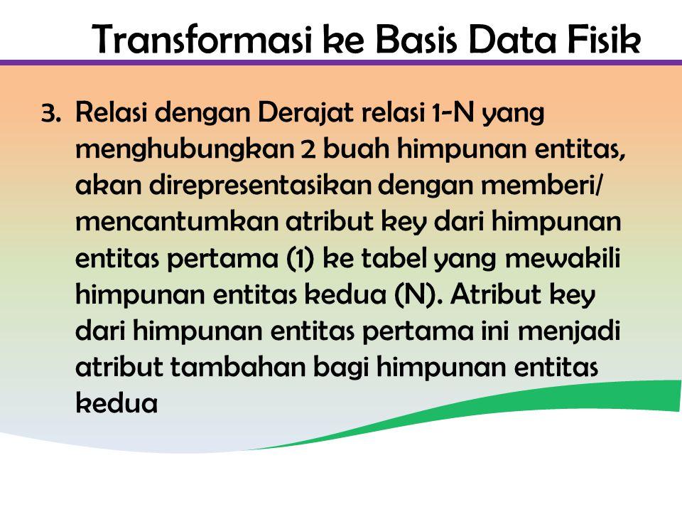 Transformasi ke Basis Data Fisik 3.Relasi dengan Derajat relasi 1-N yang menghubungkan 2 buah himpunan entitas, akan direpresentasikan dengan memberi/ mencantumkan atribut key dari himpunan entitas pertama (1) ke tabel yang mewakili himpunan entitas kedua (N).