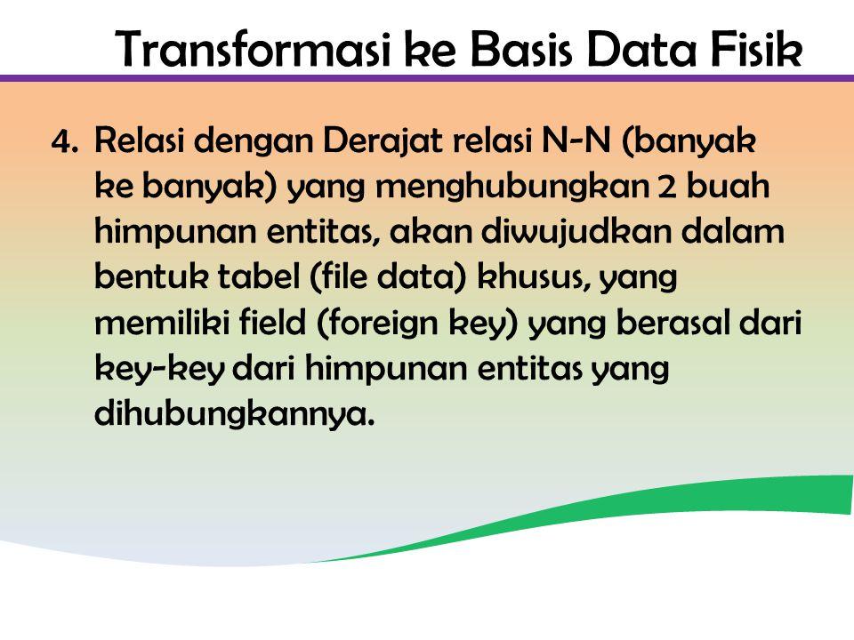 Transformasi ke Basis Data Fisik 4.Relasi dengan Derajat relasi N-N (banyak ke banyak) yang menghubungkan 2 buah himpunan entitas, akan diwujudkan dalam bentuk tabel (file data) khusus, yang memiliki field (foreign key) yang berasal dari key-key dari himpunan entitas yang dihubungkannya.