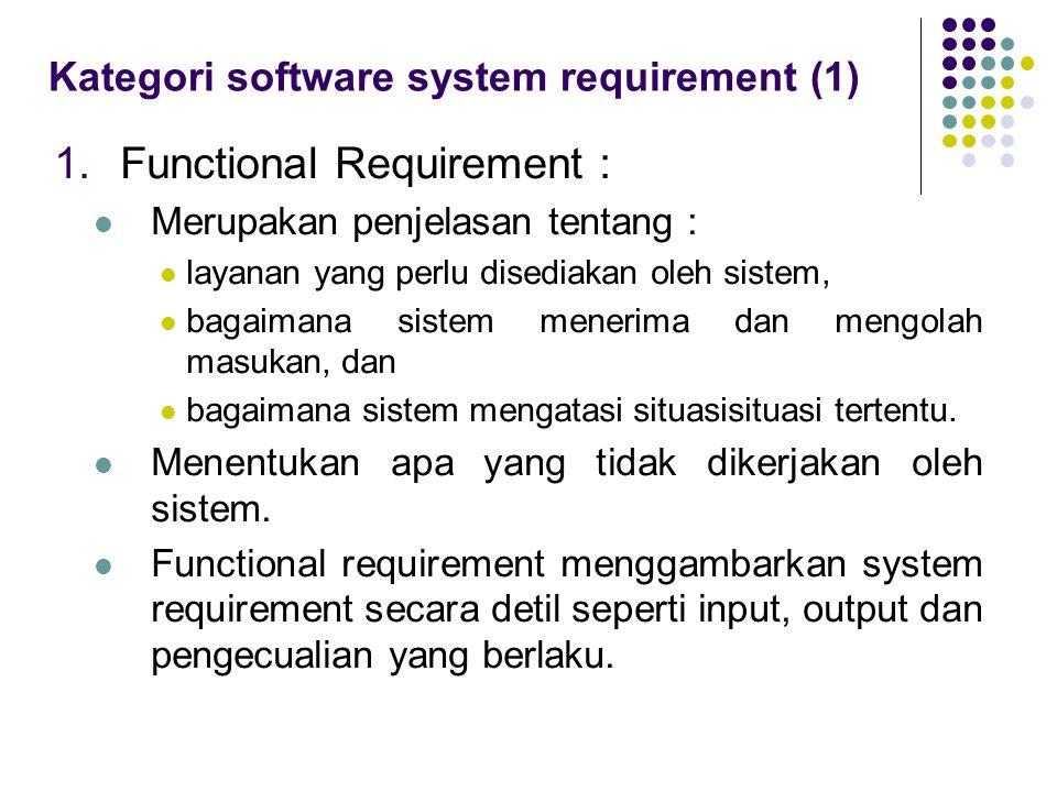 Kategori software system requirement (1) 1.Functional Requirement : Merupakan penjelasan tentang : layanan yang perlu disediakan oleh sistem, bagaiman