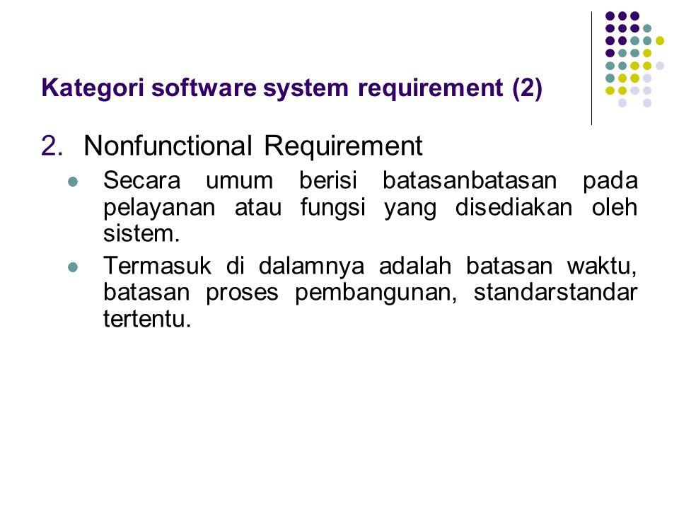 2.Nonfunctional Requirement Secara umum berisi batasanbatasan pada pelayanan atau fungsi yang disediakan oleh sistem. Termasuk di dalamnya adalah ba