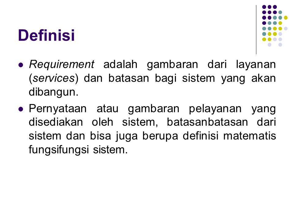 Definisi Requirement adalah gambaran dari layanan (services) dan batasan bagi sistem yang akan dibangun. Pernyataan atau gambaran pelayanan yang dised