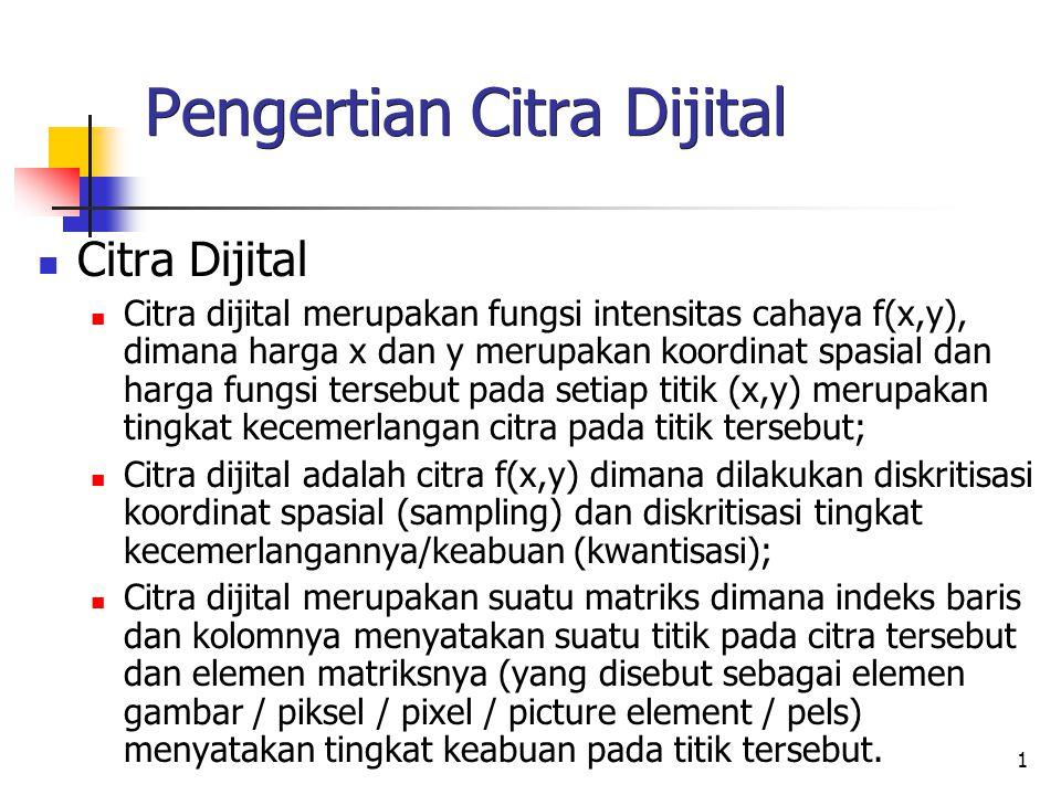 1 Pengertian Citra Dijital Citra Dijital Citra dijital merupakan fungsi intensitas cahaya f(x,y), dimana harga x dan y merupakan koordinat spasial dan
