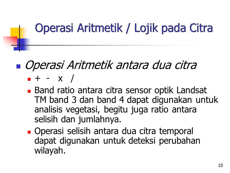 10 Operasi Aritmetik / Lojik pada Citra Operasi Aritmetik antara dua citra + - x / Band ratio antara citra sensor optik Landsat TM band 3 dan band 4 d