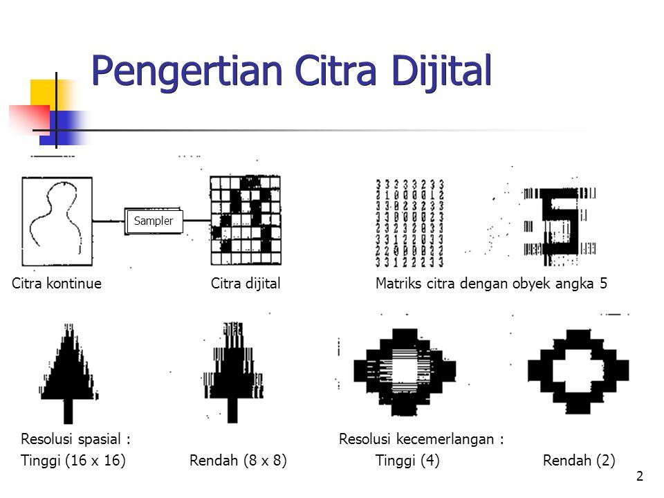 2 Pengertian Citra Dijital Sampler Citra kontinue Citra dijital Matriks citra dengan obyek angka 5 Resolusi spasial :Resolusi kecemerlangan : Tinggi (