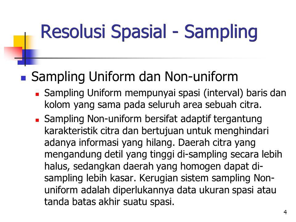 4 Resolusi Spasial - Sampling Sampling Uniform dan Non-uniform Sampling Uniform mempunyai spasi (interval) baris dan kolom yang sama pada seluruh area