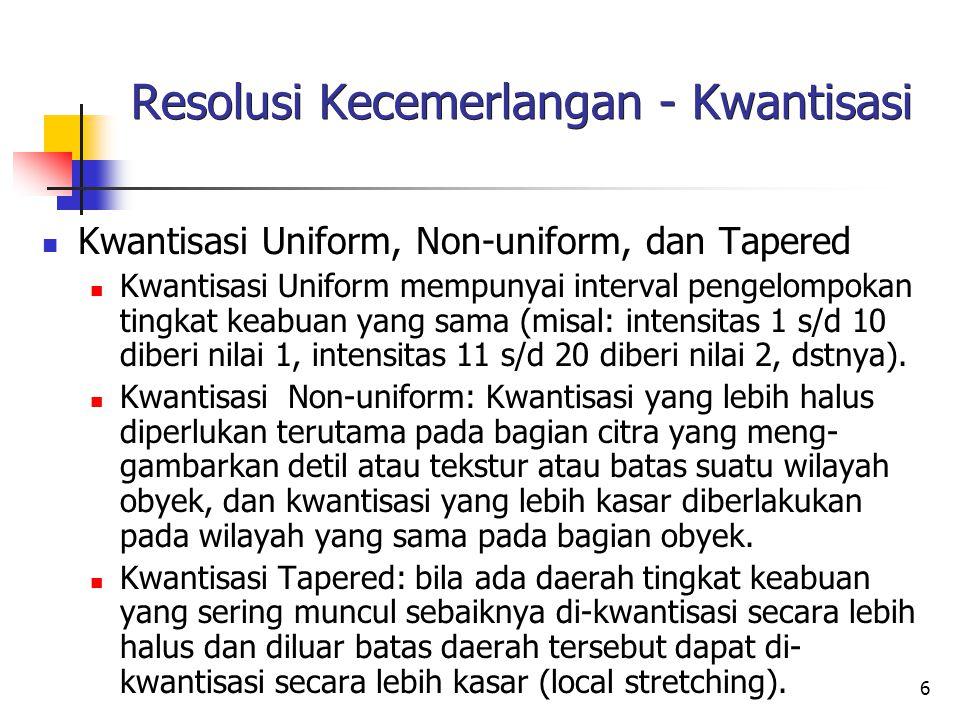 6 Resolusi Kecemerlangan - Kwantisasi Kwantisasi Uniform, Non-uniform, dan Tapered Kwantisasi Uniform mempunyai interval pengelompokan tingkat keabuan