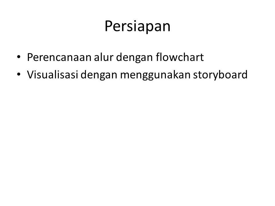 Persiapan Perencanaan alur dengan flowchart Visualisasi dengan menggunakan storyboard