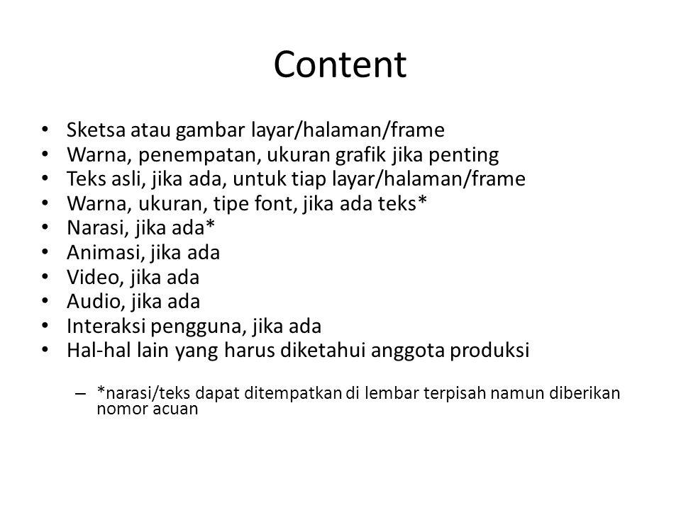 Content Sketsa atau gambar layar/halaman/frame Warna, penempatan, ukuran grafik jika penting Teks asli, jika ada, untuk tiap layar/halaman/frame Warna