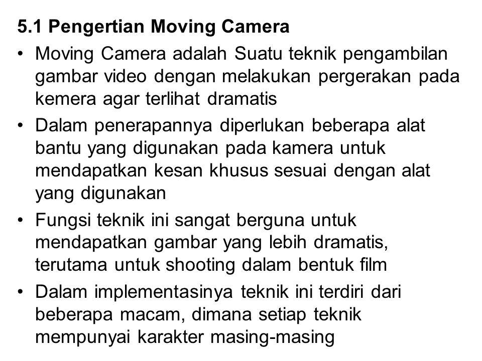 5.1 Pengertian Moving Camera Moving Camera adalah Suatu teknik pengambilan gambar video dengan melakukan pergerakan pada kemera agar terlihat dramatis