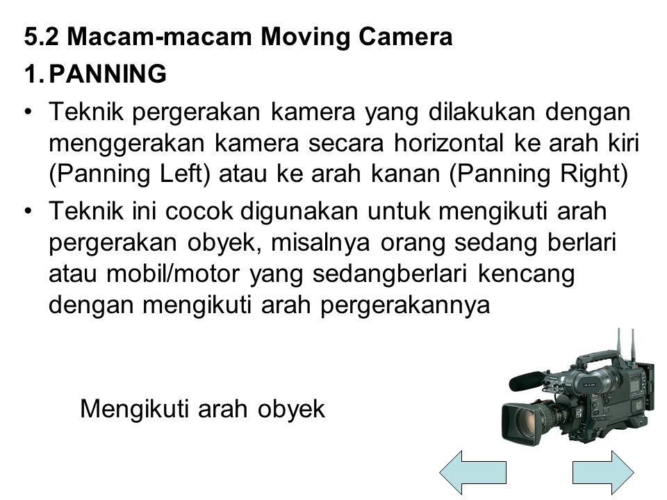 5.2 Macam-macam Moving Camera 1.PANNING Teknik pergerakan kamera yang dilakukan dengan menggerakan kamera secara horizontal ke arah kiri (Panning Left
